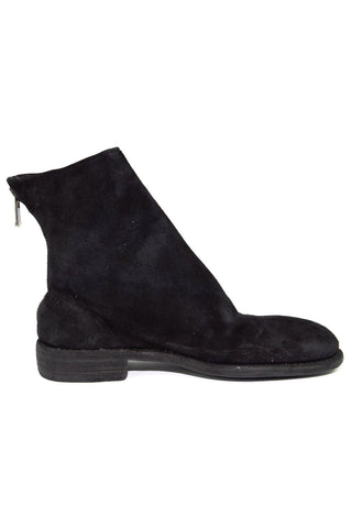 black croc zip boot