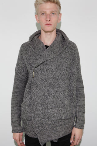 hooded boxy cardigan