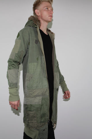 hooded patchwork flight jacket