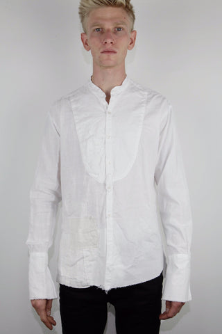 DRESSY TUX SHIRT W/ DESTROYED PIQUE BIB