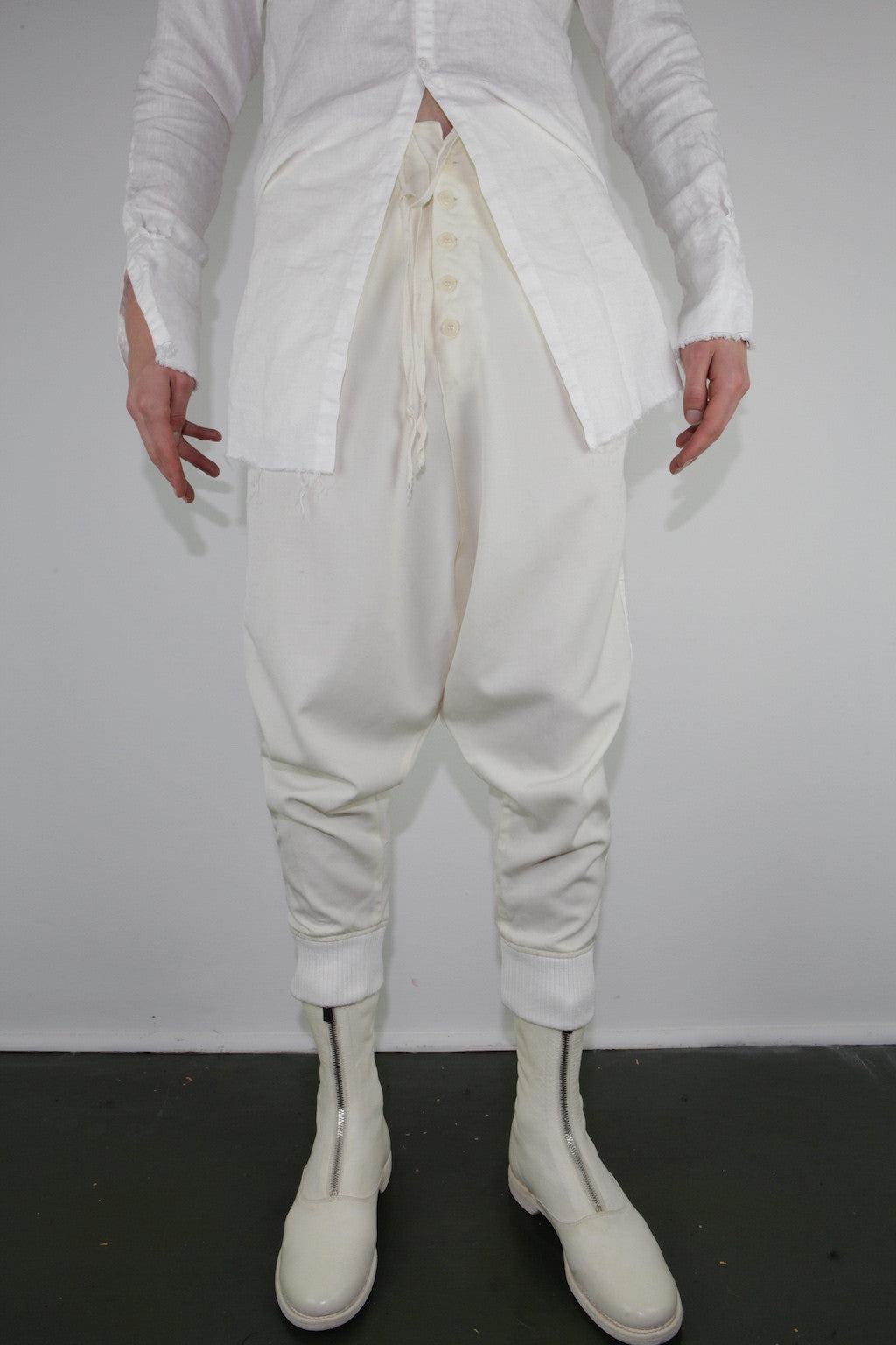 CREAM GABARDINE DROP LOUNGE PANT