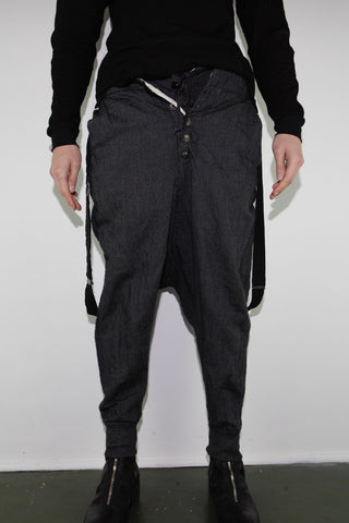 BEAD STRIPE ROLLOVER LOUNGE PANT W/ BLACK SUSPENDERS