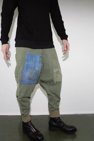 ARMY PATCHWORK DROP LOUNGE PANT