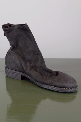 linen back zip boot - black