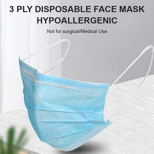 100 BOX SPECIAL - 3 Ply Masks Box of 50, $10/BOX, $0.20/MASK, Non Medical