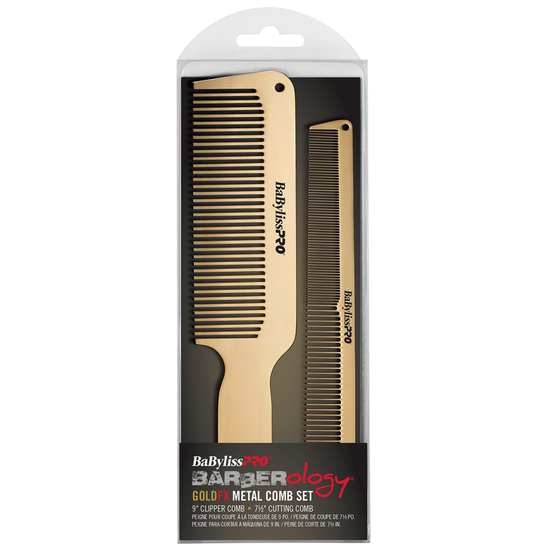 BaByliss PRO Gold FX Metal Barber Comb 2 piece Set