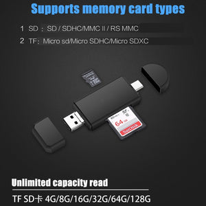 Type C & micro USB & USB 3 In 1 OTG Card Reader High-speed USB2.0 Universal OTG TF/SD