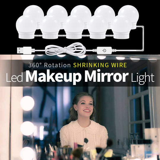 CanLing USB LED 8W 12V Vanity Mirror Makeup Lamp 10 Bulbs Kit For Dressing Table