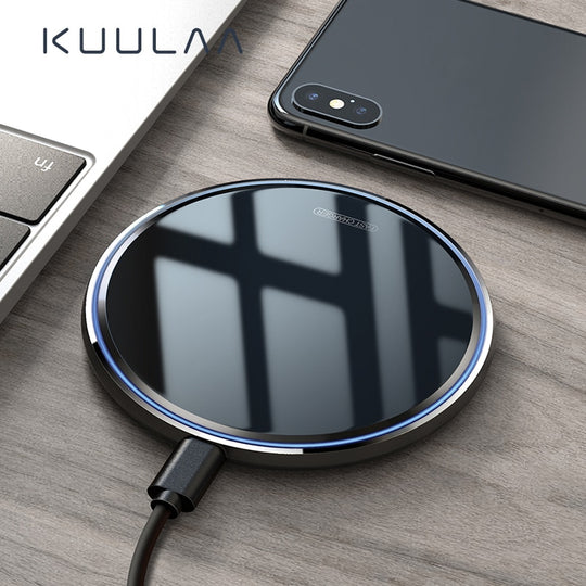 【🔥 Flash Sale】KUULAA 10W Qi Wireless Charger For iPhone X/XS Max XR 8 Plus Mirror Wireless Charging Pad For Samsung S9 S10+ Note 9 8