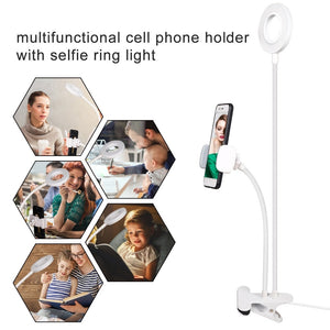 【🌟 5-Star Reviews 】Selfie LED Ring Light with Mobile Holder for Live Stream/Makeup, UBeesize Mini Led Camera Ringlight for Video/Photograph Compatible with almost all phones
