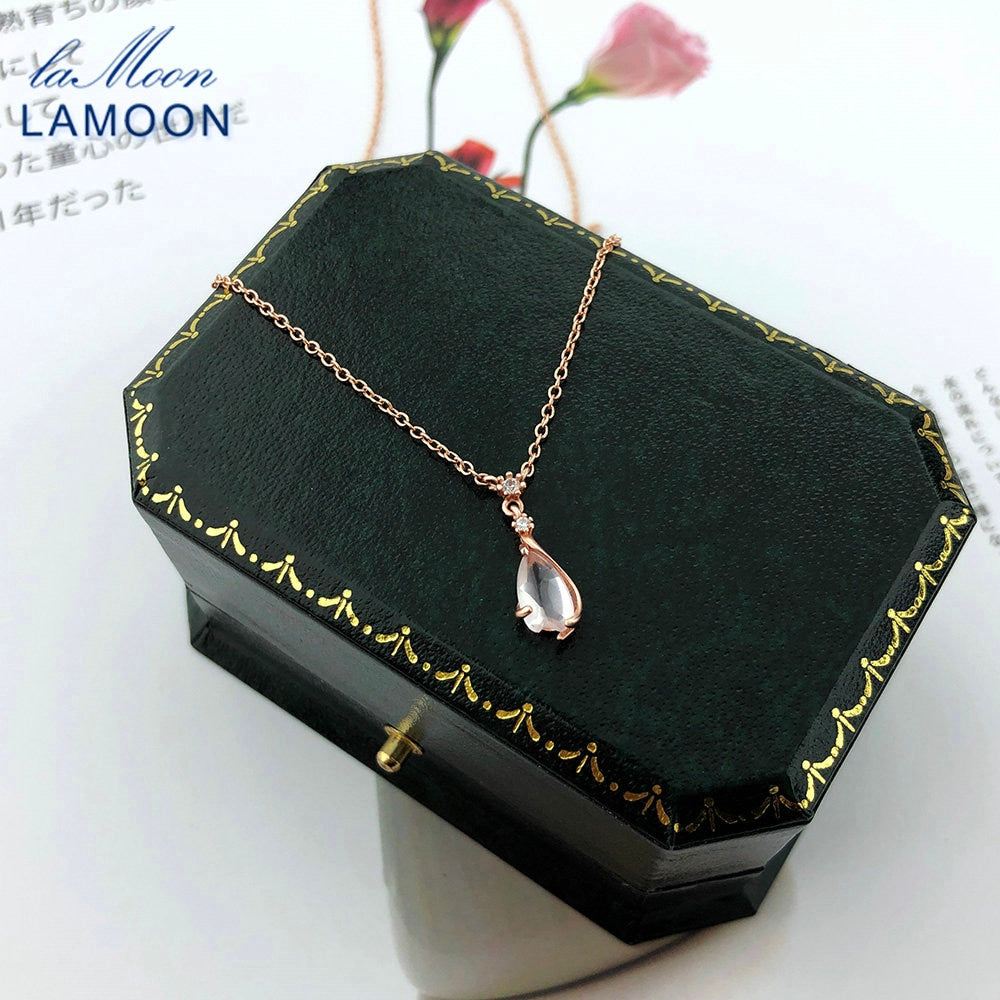 LAMOON 925 Sterling Silver Sakura Pendant Necklace Cherry Blossoms Petal Rose Quartz 18K Rose Gold Plated Fine Jewelry