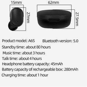 【🔥 New Arrival 】A6S Bluetooth 5.0 for Redmi Airdots wireless headset noise reduction microphone - Black