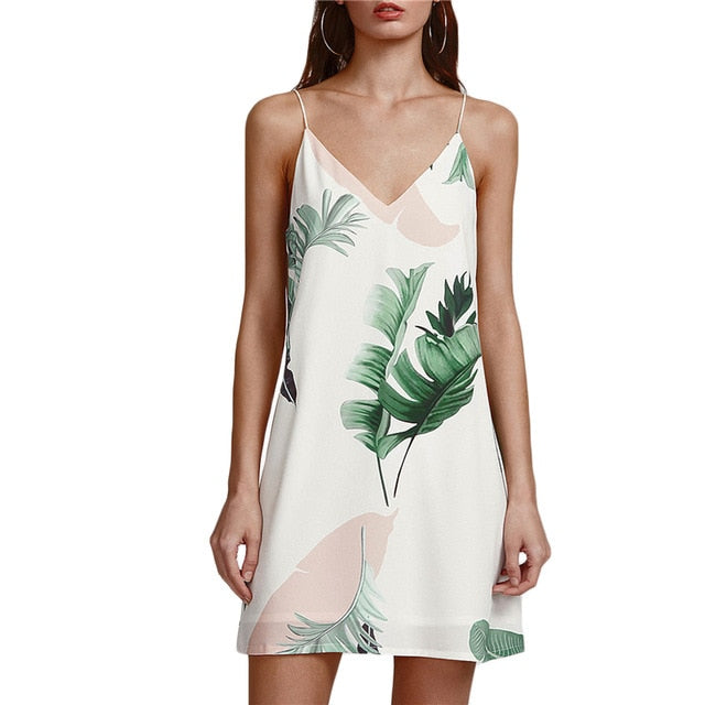Womens Summer Floral Print Halter Sleeveless Mini Dress Sexy Palm Leaf Print Dresses