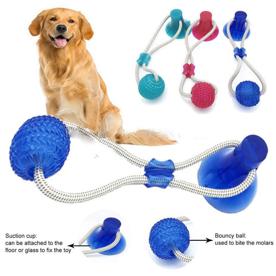 Multifunction Pet Molar Bite Toy  Interactive fun Pet toy with suction cup dog push toy