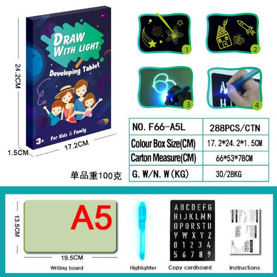 【🌟 5-Star Reviews】Draw With Light Fun Glowing Paint Glow Light Tablet  And Developing Toy