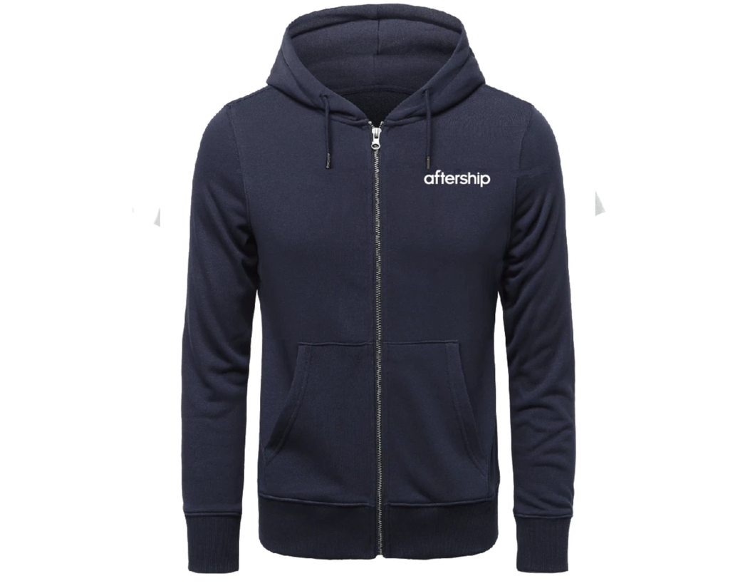 【🔥 Limited offer 】AfterShip Hoodies Zipper Blue/White Unisex Adult Hooded Sweatshirt