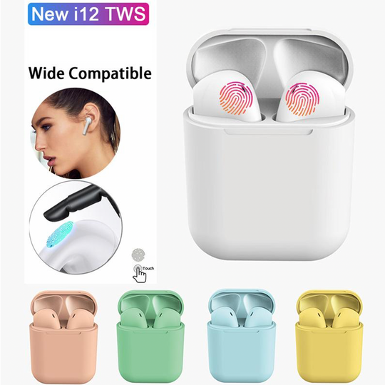 【🥇 No.1 Bestseller 】Original TWS i12 Bluetooth 5.0 Earbuds With HD Stereo Touch-Control IPX7 Waterproof Earphones Macaron for All Phones