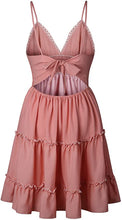 Load image into Gallery viewer, Pink/White Womens V-Neck Spaghetti Strap Bowknot Backless Sleeveless Lace Mini Swing Skater Dress