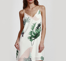 Load image into Gallery viewer, Womens Summer Floral Print Halter Sleeveless Mini Dress Sexy Palm Leaf Print Dresses