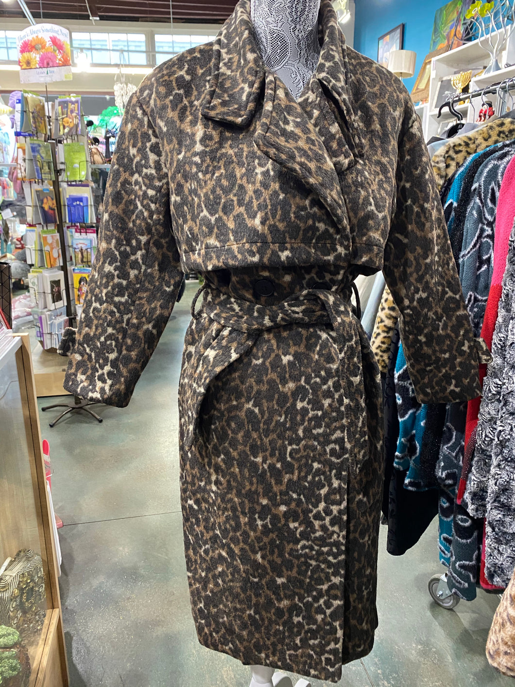 Fall Winter Wear, dark leopard print trench style coat, 3/4 sleeve.