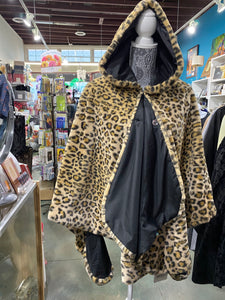 Fall Winter Wear, Rain Caper in Faux Leopard Print. Hood, Reversible and Water Repellent