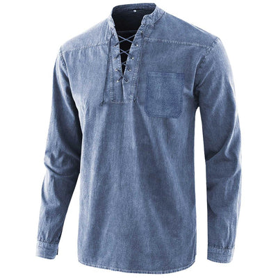 2020 Men's Gothic Retro T-shirt Pocket Tie V-neck Denim Long Sleeve T-Shirt Loose Top