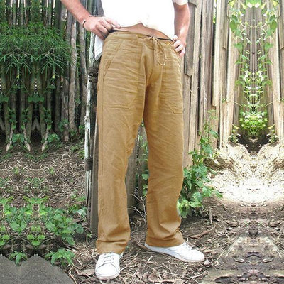 6 Colors Available Men Straight Leg Pants Comfy Breathable Linen Trousers