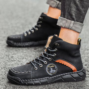 Men's High-top Handmade Leather Casual Shoes