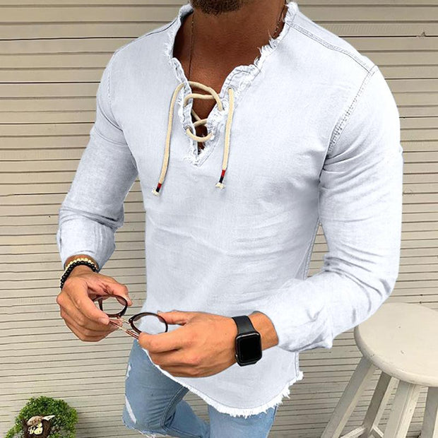 Lace-up tassel stretch men's denim long sleeve shirts