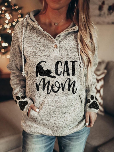 Women's CAT MOM Paw Print Hooded Casual Sweatshirt