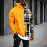 Street fashion casual plaid texture color block hoodie