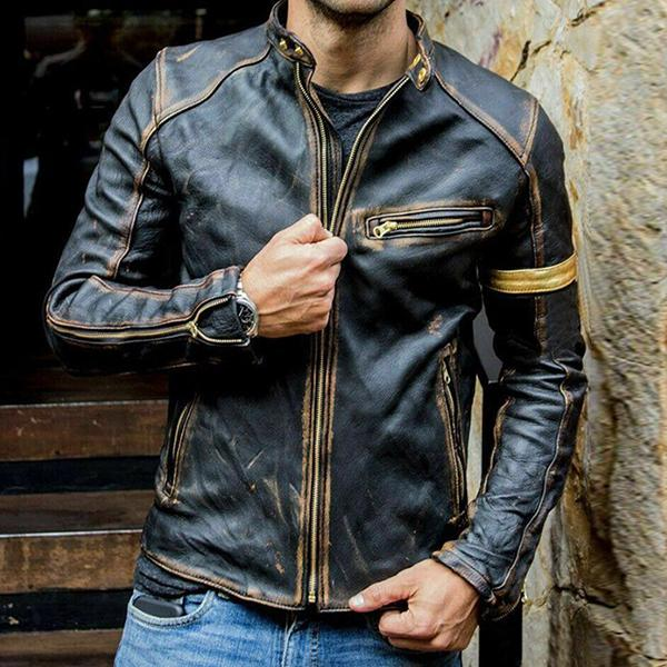 Men's Fashion Leather Stand Punk Motorcycle Casual Zipper Stitching Jacket