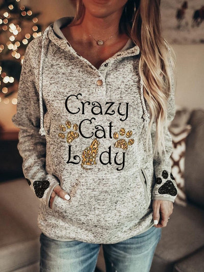 Women's Crazy Cat Lady Dog Paw Print Hooded Casual Hoodie
