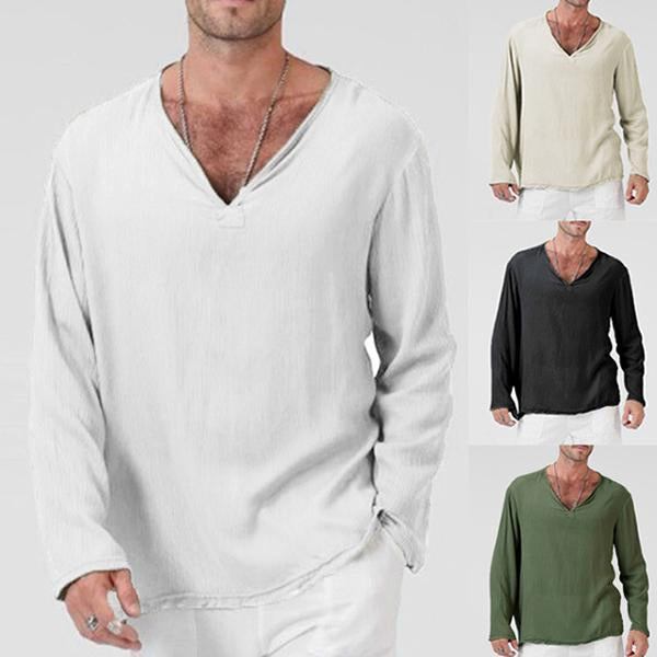 Loose Style Cotton And Linen Long-sleeved T-shirt Leisure Daily Homewear