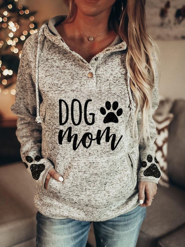 Women's Dog MOM Dog Paw Print Hooded Casual Hoodie