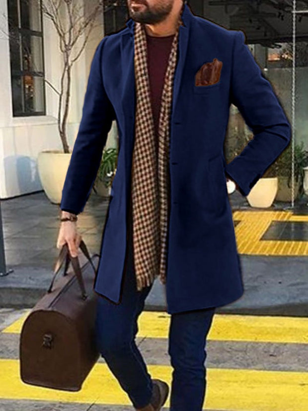 Multicolor Casual Stand Collar Long Coat