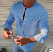 Round Neck Linen Solid Color Shirts Slim-fit Formal&Casual Shirt