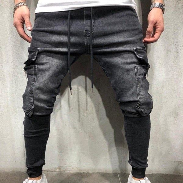 Men's Denim Fabric Casual Sports Pants Tied Jeans