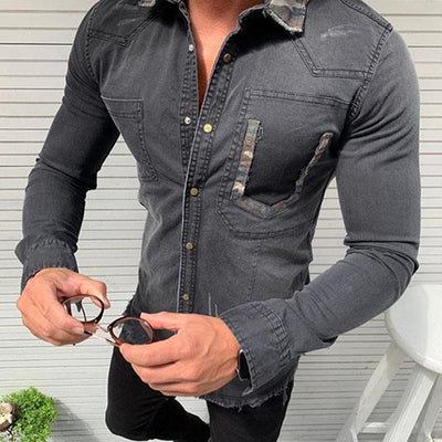 Men's Camouflage Pocket Denim Shirt
