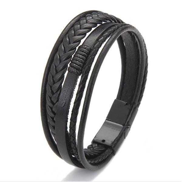 Men's leather braided alloy bracelet