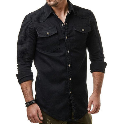 Pleated Raglan Denim Shirt