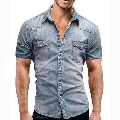 Men's Denim Shirt Fashion Summer Short Sleeve T-Shirt