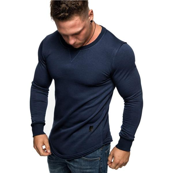 MenS Solid Color Round Neck Long Sleeve T-Shirt