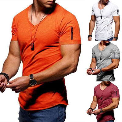 Men's V-neck Solid Color Short Sleeve Youth Bottoming Shirt