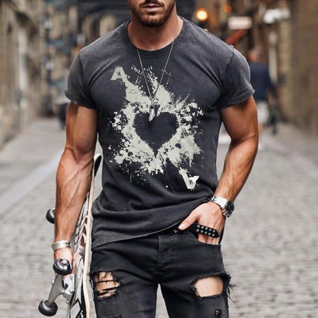 Mens Fashion Washed Poker Print T-shirt