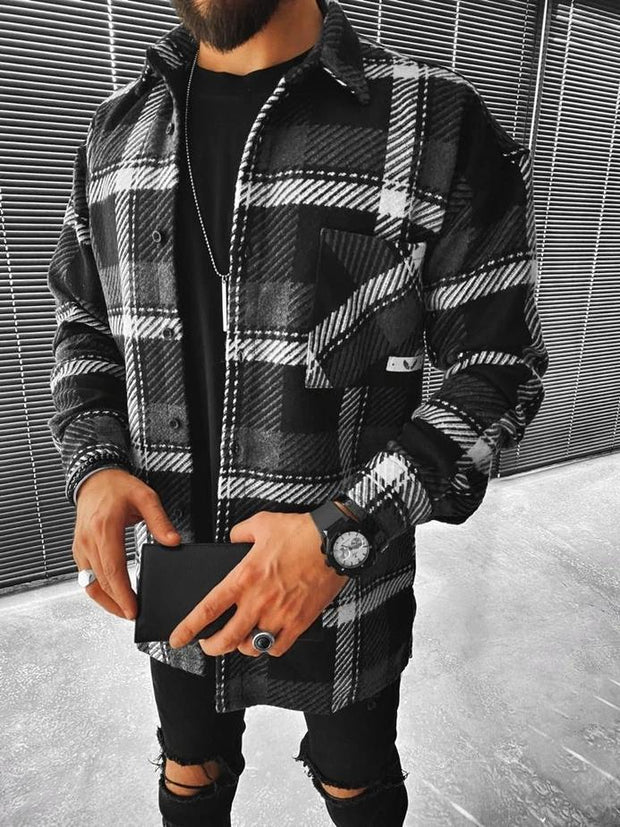 Street fashion casual plaid texture jacket