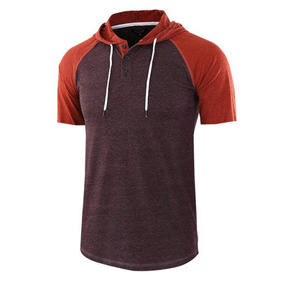 Men's Fashionable Henry Stitching Color Short Sleeve Hooded Shirt