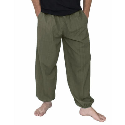 Mens Casual Baggy Harem Pants Solid Color Loose Wide Leg Pants Comfy Yoga Pants