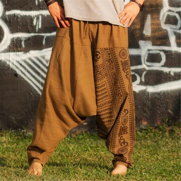 Mens Retro Printed Pants Casual Drop Crotch Trousers