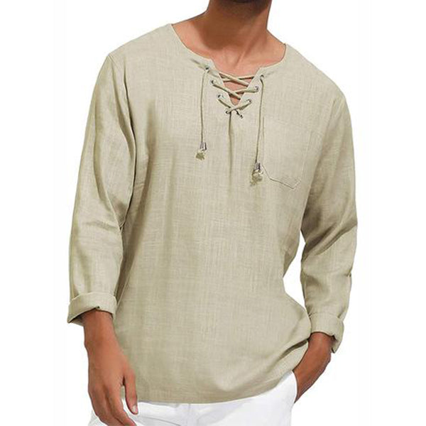 Long Sleeve cotton linen Shirt for Men